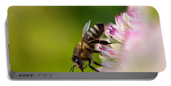 Bee Sitting On A Flower Portable Battery Charger