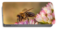 Bee Sitting On Flower Portable Battery Charger