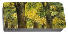 Portable Battery Charger featuring the painting Beeches In The Park by Sorin Apostolescu
