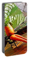 Beer Belly Carrot On A Hot Day Portable Battery Charger by Sarah Loft