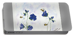 Bees At Lunch Time Portable Battery Charger by Francine Heykoop