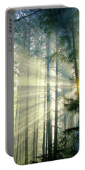 Behold The Light In The Fall Forest Portable Battery Charger