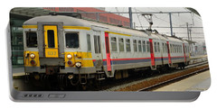 Belgium Railways Commuter Train At Brugge Railway Station Portable Battery Charger