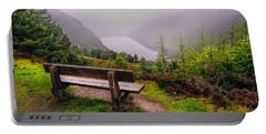 Bench Over The Upper Lake. Glendalough. Ireland Portable Battery Charger