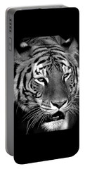 Bengal Tiger In Black And White Portable Battery Charger by Venetia Featherstone-Witty