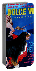 Bernese Mountain Dog Art Canvas Print - La Dolce Vita Movie Poster Portable Battery Charger