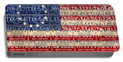 Betsy Ross American Flag Michigan License Plate Recycled Art On Red Board Portable Battery Charger