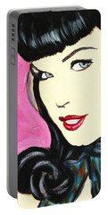 Bettie Page Pop Art Painting Portable Battery Charger
