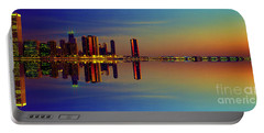 Between Night And Day Chicago Skyline Mirrored Portable Battery Charger by Tom Jelen