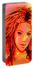 Portable Battery Charger featuring the painting Beyonce by Brian Reaves