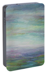 Portable Battery Charger featuring the painting Beyond The Distant Hills by Mary Wolf