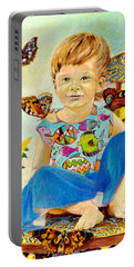 Portable Battery Charger featuring the painting Bianka And Butterflies by Henryk Gorecki