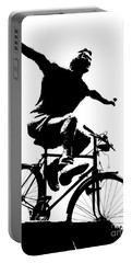 Bicycle - Black And White Pixels Portable Battery Charger