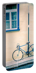 Bicycle On The Streets Of Old Quebec City Portable Battery Charger by Edward Fielding