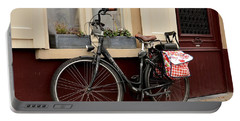 Bicycle With Baby Seat At Doorway Bruges Belgium Portable Battery Charger