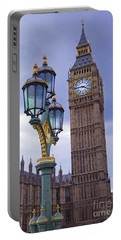 Big Ben And Lampost Portable Battery Charger by Simon Kayne