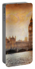 Big Ben At Dusk Portable Battery Charger by Pixel Chimp