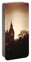 Big Ben In Sepia Portable Battery Charger by Rachel Mirror