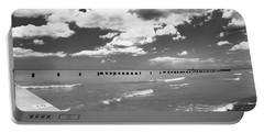 Big Lake Clouds Black White Portable Battery Charger