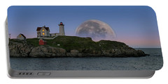 Big Moon Over Nubble Lighthouse Portable Battery Charger by Jeff Folger