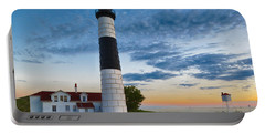 Portable Battery Charger featuring the photograph Big Sable Point Lighthouse Sunset by Sebastian Musial