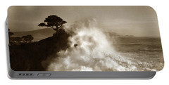 Big Wave Hitting The Lone Cypress Tree Pebble Beach California 1916 Portable Battery Charger