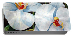 Big White Orchids - Floral Art By Betty Cummings Portable Battery Charger by Sharon Cummings