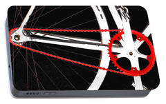 Bike In Black White And Red No 2 Portable Battery Charger by Ben and Raisa Gertsberg