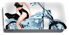 Biker Girl Portable Battery Charger by Renate Janssen