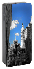 Portable Battery Charger featuring the photograph Billy Penn Blue by Photographic Arts And Design Studio