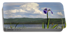 Portable Battery Charger featuring the photograph Birch Lake Iris by Cathy Mahnke