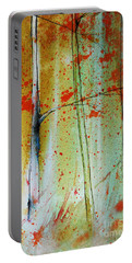 Portable Battery Charger featuring the painting Birch Tree Forest Closeup by Jani Freimann