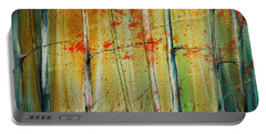 Portable Battery Charger featuring the painting Birch Tree Forest I by Jani Freimann
