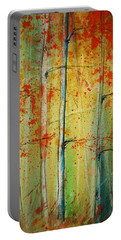 Portable Battery Charger featuring the painting Birch Tree Forest - Right by Jani Freimann