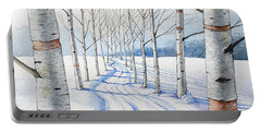 Birch Trees Along The Curvy Road Portable Battery Charger