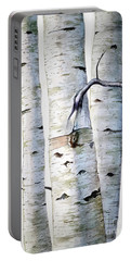 Birch Trees In Watercolor Portable Battery Charger