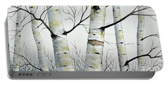 Birch Trees In The Forest In Watercolor Portable Battery Charger
