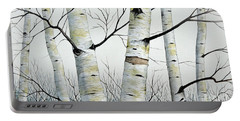 Birch Trees In The Forest By Christopher Shellhammer Portable Battery Charger