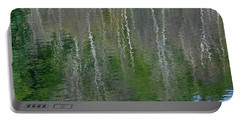 Birch Trees Reflected In Pond Portable Battery Charger
