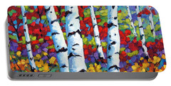 Birches In Abstract By Prankearts Portable Battery Charger