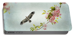 Bird And Pink And Green Flowering Branch On Blue Portable Battery Charger