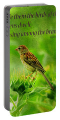 Bird In A Sunflower Field Scripture Portable Battery Charger
