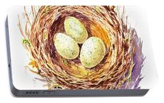 Bird Nest A Happy Trio Portable Battery Charger by Irina Sztukowski