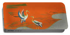 Birds At Sunset On The Lake Portable Battery Charger by Kamisaka Sekka