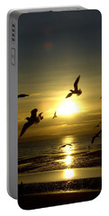 Birds Gathering At Sunset Portable Battery Charger