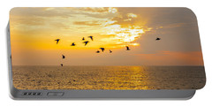 Birds In Lake Erie Sunset Portable Battery Charger