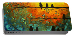 Birds Of A Feather Original Whimsical Painting Portable Battery Charger