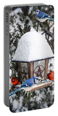 Birds On Bird Feeder In Winter Portable Battery Charger