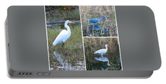 Birds On Pond Collage Portable Battery Charger by Carol Groenen