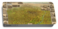 Birdseye Map Of Denver Colorado - 1908 Portable Battery Charger by Eric Glaser